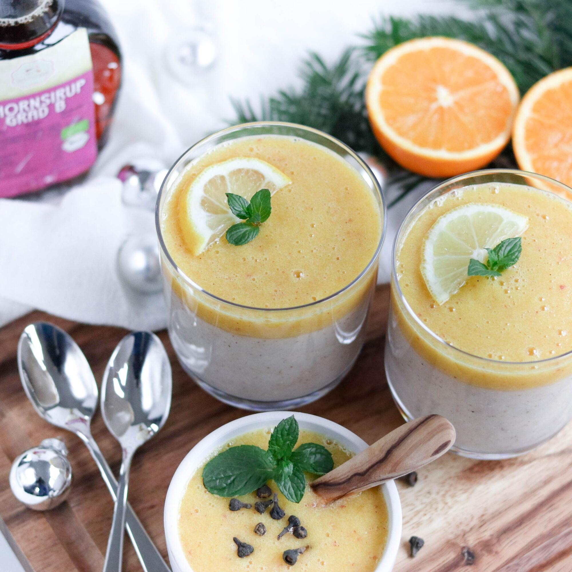 Weihnachtlicher Grießbrei mit Orangentopping